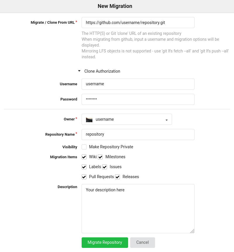 """The Codeberg migration interface, with """"https://github.com/username/repository.git"""" as the """"Migrate/Clone From URL"""", the username & password filled under """"Clone Authorization"""", and in a separate section all the import details such as the """"Repository Name"""", """"Visibility"""", """"Migration Items"""" (consisting of checkboxes for """"Wiki"""", """"Milestones"""", """"Labels"""", """"Issues"""", """"Pull Requests"""", and """"Releases""""), and the """"Description"""""""