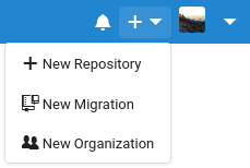 """The Codeberg new repository dropdown, with """"New migration"""" listed as one of the options"""